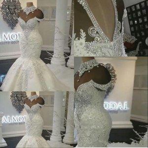 2021 Luxe Dubai Mermaid Robes De Mariée Robes de mariée Robes de mariée Illusion Illusion Dentelle Appliques Cristal Perles Perles Plus Taille Tulle Formelle avec fleurs Ouvrir les manches