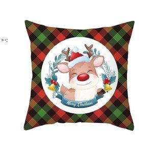 Christmas Red Green Plaid Pillowcase Santa Claus Peach Skin Pillow Cushion Home Pillowslip Decorations 10 styles LLF11125
