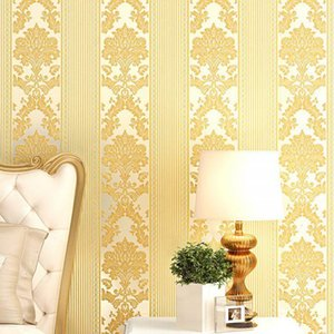 Modern Simple Wallpaper Quarto 3D Sala de estar Bege Stripe Vertical Não-tecido Fundo Europeu TV Fundo 5.3 Quadrado