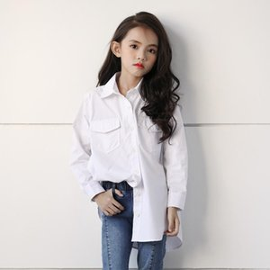 Shirts White Cotton Long Blouses Teenage Girls 2021 Spring Summer Solid School Blouse Baby Girl Dresses Kids Casual Tops Clothes