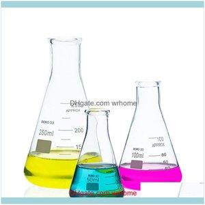 Лабораторные промышленные принадлежности MRO Office School Business Industrial2PCS / LOT Высококачественная лабораторная лабораторная коническая колба 50 мл-1000 мл стеклянный стакан
