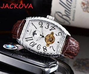 Натуральная кожа верхняя мода механическая мужская нержавеющая сталь корпус автоматическое движение часы деловых видов спорта мужские часы