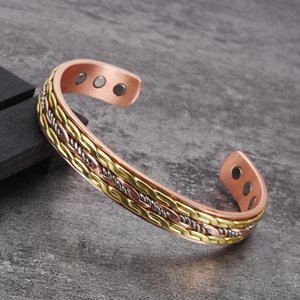 Vinterly women's Cross copper bracelet, gold twisted pair magnetic jewelry, adjustable cuffs