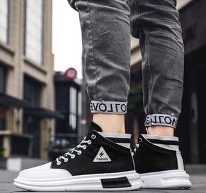 2020 new spring and autumn high help men breathable canvas shoes men Korean edition trend all-match leisure board shoes