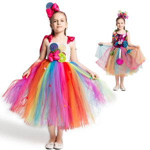 Rainbow Candy Dress Girls Sweet Costume for Carnival Birthday Kids Lollipop Flower Tutu Dress with Headband Cute Fancy Clothing