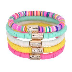 5шт / комплект Богемский этнический ручной работы браслет многоцветный браслет для женщин мода медные бусины браслеты мягкие гончарные красочные праздник пляжный браслет ювелирные изделия