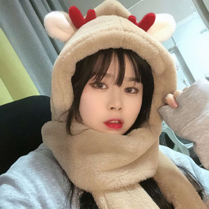 Velvet thickened hat glove three in one scarf net red same deer suit