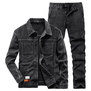 2021 New Men Casual Slim Black Jacket and Jeans Men's Suits Spring Autumn Men Lapel Long Sleeve Denim Jacket + Jeans Two Piece Set