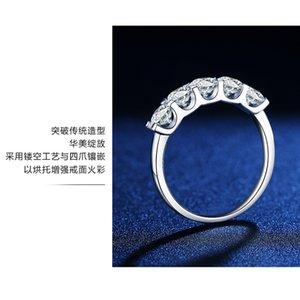 LEIC genuino 55 Five Row SROPORTE Sencillo Import Mosan Stone Diamond Ring T Anillo de casa Pedido 18k Anillo de oro blanco