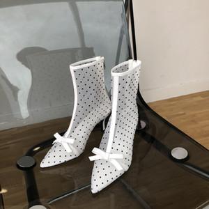 2020 Sexy coréen Sexy Mesh Mesh Mesh Polka Dot respirant Boots d'arc creux Stiletto Bottines pour femmes