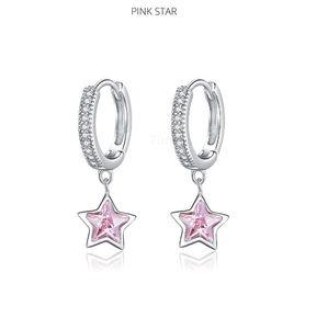 New 925 Sterling Silver Jewelry Dazzling Pink Star CZ Light Stud Earrings for Women Girls Gift