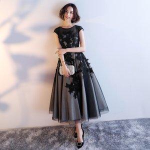 Vestido 2021 Nuevo Invierno Coreano Slim Fit Sleeve Black Elegant Banquete de banquete Tarde