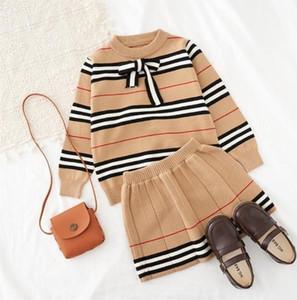 2021 Frühling Herbst Neue Ankunft Mädchen Gestrickt 2 Stück Anzug Top + Rock Kids Kleidung Mädchen Kleidung