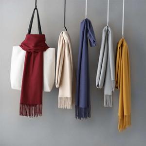 2019 Korean women's scarf autumn and winter new monochrome decoration tassel warm imitation cashmere annual meeting red shawl versatile