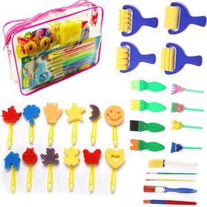 kids art craft fun painting drawing tools 29 pcs Plastic Handle Seal sponge brushes painting set art kit