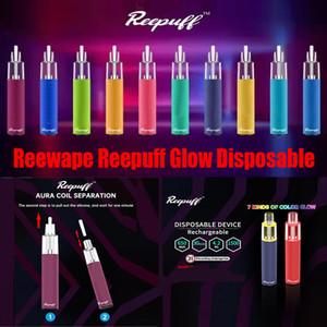 정통 Reewape ReePuff Glow 일회용 장치 키트 1500 퍼프 충전식 650mAh 배터리 미리 프리 5ml 포드 vape 스틱 펜 100 % 정품