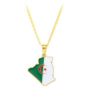 Algeria Flag Pendant Necklace Gold Chain Long Necklace Copper Women with Oil Painting Jewlery Necklaces