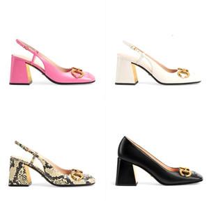 Mujeres Mid-tacón bomba Horsebit 75mm Slingback Designer vestido zapatos de punta cuadrada cuero genuino tacones altos con sandalias de cadena de metal NO273