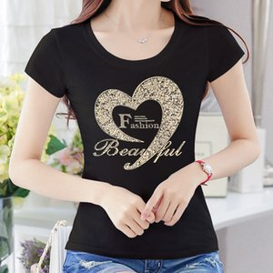 Woman 4XL 2021 Summer Diamonds Tshirt Women Lace Rhinestone Lady T Shirt Camisetas Mujer Printing Womens T-Shirts fashion XXXXL
