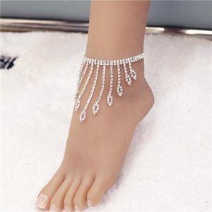 Anklets Rhinestone Tassel Eyes Crystal Jewelry For Women Bling Tennis Chain Fashion Ankle Bracelet Gift ForWomen