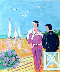 Jean claude picot french couple in Deauville Home Decor Handcrafts  HD Print Oil Painting On Canvas Wall Art Picture 210306