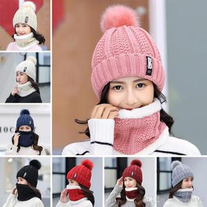 Rahat Hedging Şapka Artı Kadife Kalınlaşma Sıcak Örme Kore Moda Slouchy Gevşek Kadın Örme Şapkalar Eklemek Bib Eşarp Seti YL0177