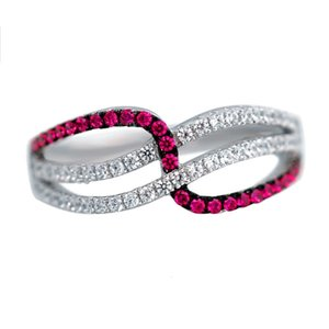 HBP fashion Elegant lines, delicate, small diamond ring, red, simple and versatile style