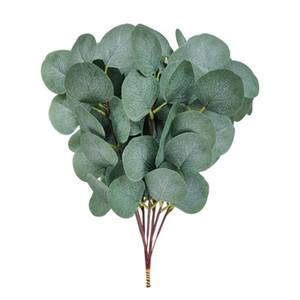 20 pcs fake eucalipto folhas hastes dólar de prata eucalipto folhas planta 13.7inch alto decoração de hortaliças