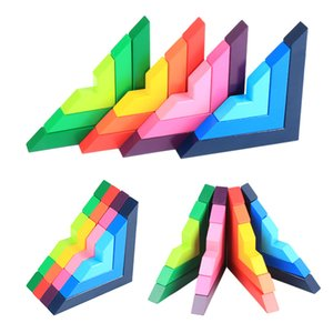 12 Piece Wooden Rainbow Stacking Toy Building Blocks for Kids Learning Sorting and Stacking, Preschool Nesting Educational Toys