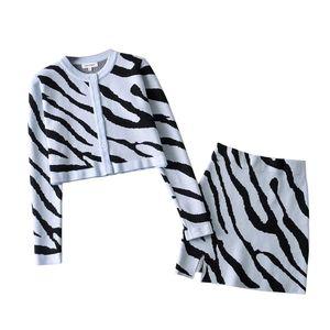 2021 Sonbahar Retro Kontrast Renk Zebra Hırka Kore Tek Göğüslü Düğme Örme Kazak Paketi HIPS Mini Etek 1 Set
