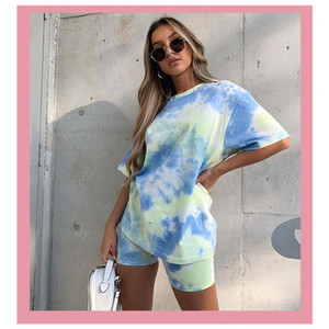 2021 Summer Print Women's Tracksuit T Shirts And Biker Shorts Sportswear Jogging Femme Casual Two Piece Sets Outfits Clothing