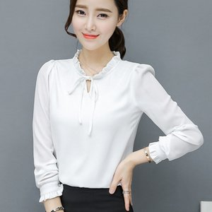 2021 New Korea Fashion Women Chiffon Shirt Autumn Ruffled Sweet Bow Women's Shirts Long Sleeve Warm Winter Ladies Top Wxf710 Eymz