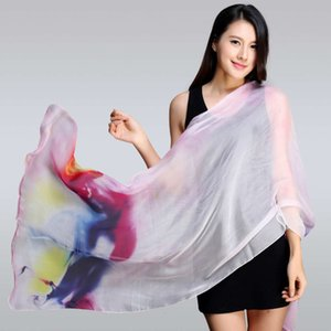Summer new spray painting long real beach towel mulberry silk scarf batch thin sunscreen shawl