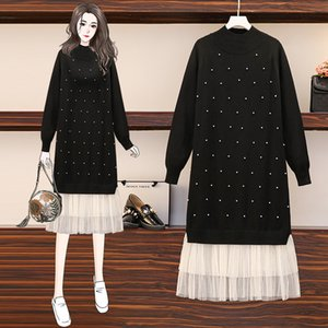 2021 New Autumn Winter Knit Pullover Sweater Elegant o Neck Long Sleeve Beaded Mesh Patchwork Women Oversize Knitted UXX3