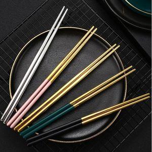 21cm Gold Silber Edelstahl Essstäbchen Chinesisches Essen Zweifarbige Anti-Skid-Essstäbchen Restaurant Hotel Portable Geschirr HWB10097