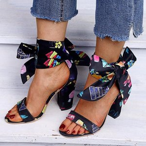 Flock High Heel Summer Style Ribbon Sandals Vintage Black Fashion Ankle Strap Pumps Bow Knot Casual Shoes Woman Shoes Size 34 43 Men S v1Ee#