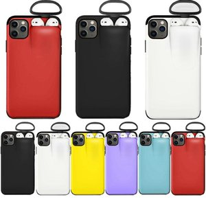 2 в 1 крышки гарнитуры телефона чехол для телефона ящик для наушников для iPhone 11PRO XS MAX XR X 7 8 ударопрочный твердый цвет задней крышки