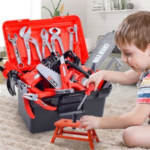 Çocuk Araç Kutusu Mühendisi Simülasyon Onarım Araçları Pretend Oyuncak Elektrikli Matkap Tornavida Aracı Kiti Çocuklar için Oyuncak Kutusu Seti Oyna 210308
