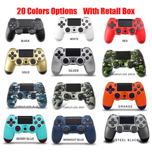 20 Colors Wireless Bluetooth Gamepad Joystick Controller Game Console Accessory USB Handle NO Logo For PS4 PC Controller With Retail Box DHL