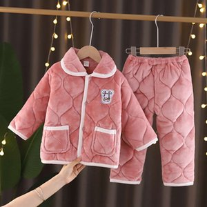 pajamas Children's winter girls' suit flannel three-layer sand cotton thickened baby coral cashmere boys' home wear