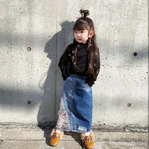 Fashion kids hole denim skirt girls double pocket split cowboy skirts children casual clothing mother and daughter matching outfits Q2205