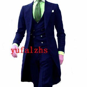 Handsome Long Patter Groomsmen Peak Lapel Groom Tuxedos Mens Wedding Dress Man Jacket Blazer Prom Dinner suits (Jacket+Pants+Tie+Vest) W687