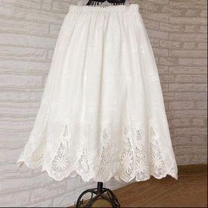 Romantic White Openwork Embroidery Retro Womens Skirt Cotton A Line Mori Girl
