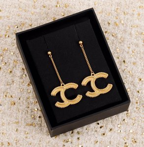 2021 Hot sale Top quality drop earring in 18k gold plated for women party wedding lovers gift jewelry engagement with box free shipping PS4