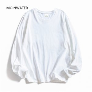 Moinwater Mujer O-cuello de manga larga camisetas Lady White Cotton Tops Female Soft Casual Tees Camiseta negra de las mujeres MLT1901 210310