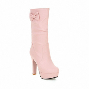 Massivfarbe Super High Heel Middle Platform Boots Schuhe Frau 09ie #