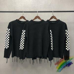 Siyah ve Beyaz Kareler Rhuce Örgü Kazak Erkek Kadın Rhude Kazak 1: 1 Yüksek Kaliteli Püskül Örme Sweatroat Checkerboard C0304