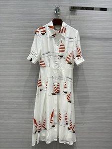 Milan Pist Elbise 2021 Yaz Yaka Boyun Kısa Kollu Baskı Tasarımcısı Elbise Marka Aynı Stil Elbise 0526-7