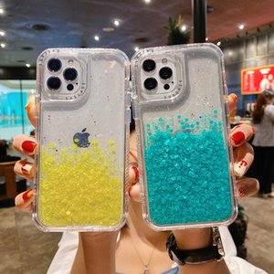 3 in 1 Glitter Hybrid Armor Clear Back Cover for iPhone 12 Mini 11 Pro Max XR XS 6s 7 8 Plus SE