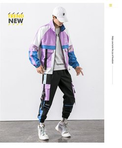 Males Street Style Sports Casual Suits Mens Contrast Color Spring Trucksuits Teenagers Designer Pocket Zipper Fly Jacket Sets